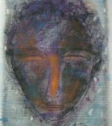 Figurative Mixed-media Art Painting title 'Face 1' by artist D S Rane