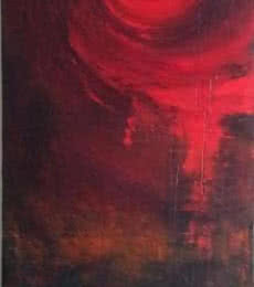 Abstract Acrylic Art Painting title 'Circular Red Abstract' by artist Sanjay Akolikar