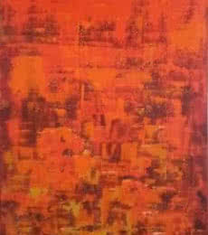 Abstract Acrylic Art Painting title 'Dripping Orange' by artist Sanjay Akolikar
