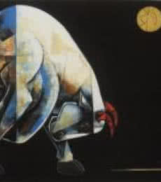 Animals Acrylic Art Painting title 'Bull 3' by artist Dinkar Jadhav