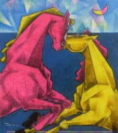 Dinkar Jadhav | Acrylic Painting title Waltzing In Dream 5 on Canvas | Artist Dinkar Jadhav Gallery | ArtZolo.com