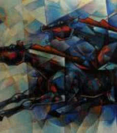 Animals Acrylic Art Painting title 'Horses Waltzing In The Sky 4' by artist Dinkar Jadhav