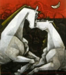 Horses Waltzing In The Dream VI | Painting by artist Dinkar Jadhav | acrylic | Canvas