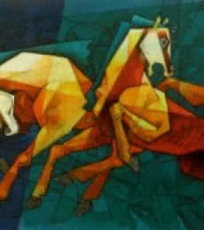 Dinkar Jadhav | Acrylic Painting title Horses Waltzing In The Sky on Canvas | Artist Dinkar Jadhav Gallery | ArtZolo.com