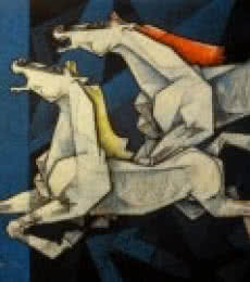 Horses Waltzing In The Sky IX | Painting by artist Dinkar Jadhav | acrylic | Canvas