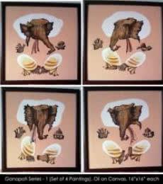 Ganpati Series - 1 | Painting by artist Mrs. Sushama Gode | acrylic | Canvas