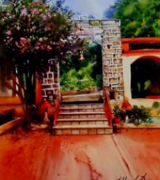 Landscape Watercolor Art Painting title 'Painting No 03 Water Color On Acid Free' by artist Hamlet Shougrakpam