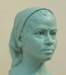 Fiber Glass Sculpture titled 'Portrait Of My Wife Sunita' by artist Hiralal Rajasthani