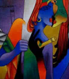 Figurative Acrylic Art Painting title 'In Love' by artist Rajesh Shah