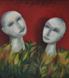 Figurative Oil Art Painting title 'Balance Of Life' by artist Huma Hussain