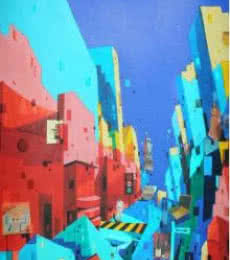 Abhijit Paul | Mixed-media Painting title Urban Landscape 3 on Paper | Artist Abhijit Paul Gallery | ArtZolo.com