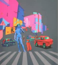 David Holds The City | Painting by artist Abhijit Paul | mixed-media | Canvas