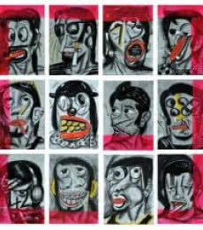 Sumantra Mukherjee | Acrylic Painting title Jokers on Carbon Felt Board | Artist Sumantra Mukherjee Gallery | ArtZolo.com