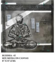 Motivational Mixed-media Art Painting title 'Buddha 45' by artist Anurag Jadia