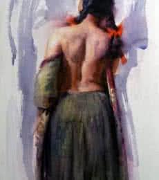 Figurative Oil Art Painting title Figure V by artist Pramod Kurlekar