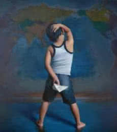 Figurative Oil Art Painting title 'Inception Beyond Direction' by artist Pramod Kurlekar