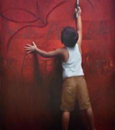 Figurative Oil Art Painting title Universal Spell by artist Pramod Kurlekar