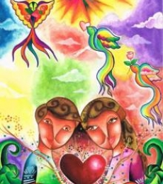 Pop Art Mixed-media Art Painting title Love is Colorful by artist Chester Sia