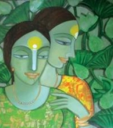 Dewashish Das | Acrylic Painting title Composition 1 on Canvas | Artist Dewashish Das Gallery | ArtZolo.com
