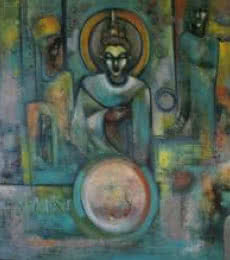 Figurative Oil Art Painting title The Lord Of Truth by artist Pijush Kanti Bera