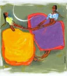 Sardar Jadhav | Acrylic Painting title Phugadi on Canvas | Artist Sardar Jadhav Gallery | ArtZolo.com