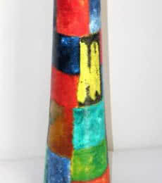 Hand Painted Multi Color Vase | Craft by artist Akanksha Rastogi | Terracota