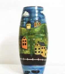 Hand Painted Valley Vase | Craft by artist Akanksha Rastogi | Terracotta