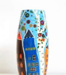 Akanksha Rastogi | Hand Painted High Rise Vase Craft Craft by artist Akanksha Rastogi | Indian Handicraft | ArtZolo.com