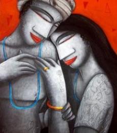 Figurative Acrylic Art Painting title Love Iv by artist Samir Sarkar
