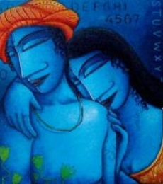 Figurative Acrylic Art Painting title 'Love II' by artist Samir Sarkar