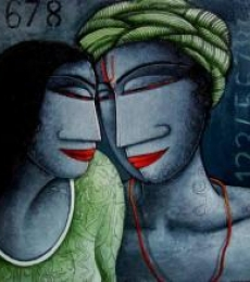 Figurative Acrylic Art Painting title 'Love I' by artist Samir Sarkar