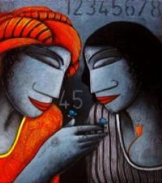 Figurative Acrylic Art Painting title 'Untitled' by artist Samir Sarkar