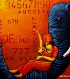 Elephant | Painting by artist Samir Sarkar | acrylic | Canvas