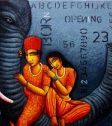 Figurative Acrylic Art Painting title 'Elephant 2' by artist Samir Sarkar