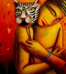 The Mask I | Painting by artist Samir Sarkar | acrylic | Paper