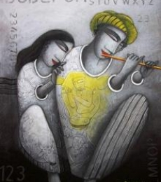 Samir Sarkar Paintings | Figurative Painting - Love Tune by artist Samir Sarkar | ArtZolo.com