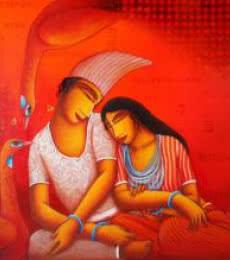 Samir Sarkar | Acrylic Painting title Lovers on Canvas | Artist Samir Sarkar Gallery | ArtZolo.com