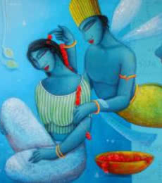 Blue Love Couple | Painting by artist Samir Sarkar | acrylic | Canvas