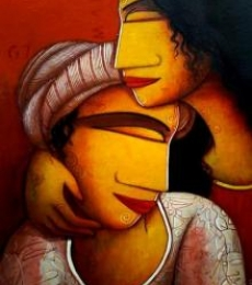 Figurative Acrylic Art Painting title 'The Lover' by artist Samir Sarkar