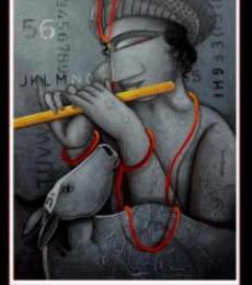 Krishna | Painting by artist Samir Sarkar | acrylic | Paper