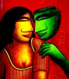 Figurative Acrylic Art Painting title 'Whisper Love' by artist Samir Sarkar