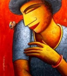 Butterfly Lover | Painting by artist Samir Sarkar | acrylic | Paper
