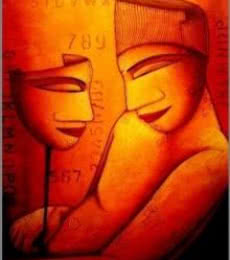 Figurative Acrylic Art Painting title 'The Mask II' by artist Samir Sarkar