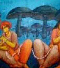 Caring | Painting by artist Samir Sarkar | acrylic | Canvas