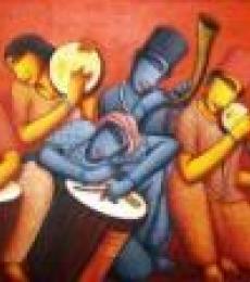 Samir Sarkar | Acrylic Painting title Sound 1 on Canvas | Artist Samir Sarkar Gallery | ArtZolo.com
