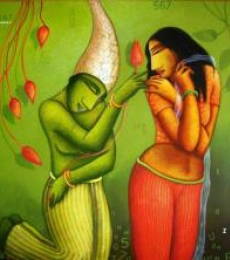 Figurative Acrylic Art Painting title 'Courtship' by artist Samir Sarkar