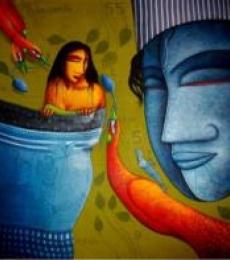 Feeling Love | Painting by artist Samir Sarkar | acrylic | Canvas