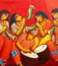 Figurative Acrylic Art Painting title 'Sound of Music' by artist Samir Sarkar