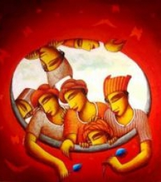 Figurative Acrylic Art Painting title 'Inner Circle' by artist Samir Sarkar