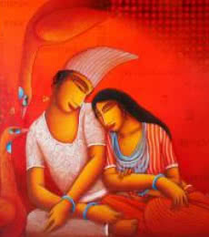 Figurative Acrylic Art Painting title 'Lovers' by artist Samir Sarkar